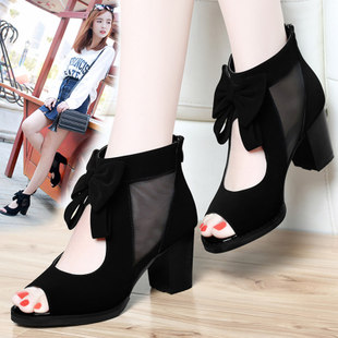 Sandals female fish head in summer 2017 with new thick with high-heeled student girls summer Korean wild women shoes