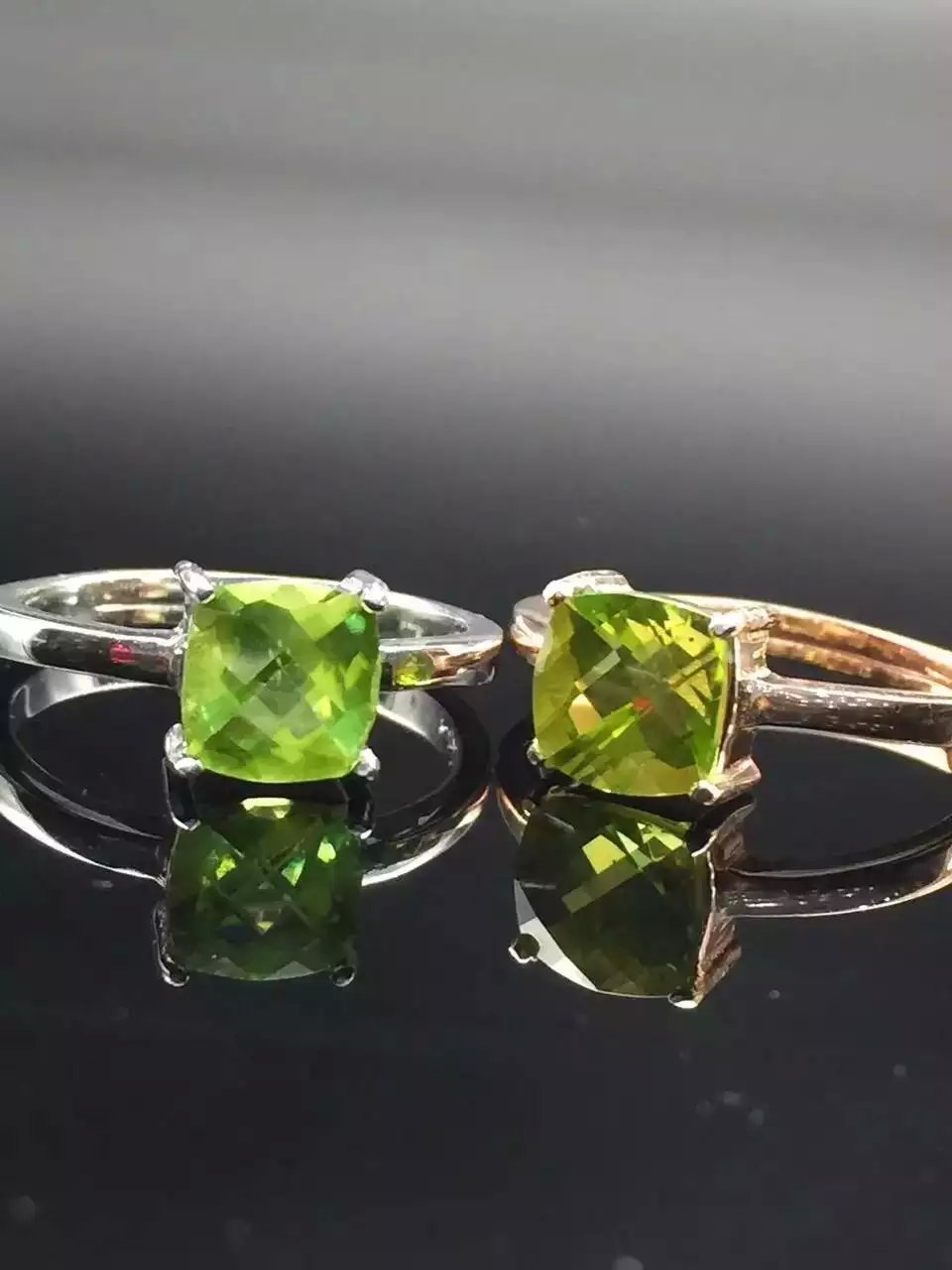 Simple S925 Sterling Silver Plated 18K gold set olivine ring real silver live DIY gem womens ring L