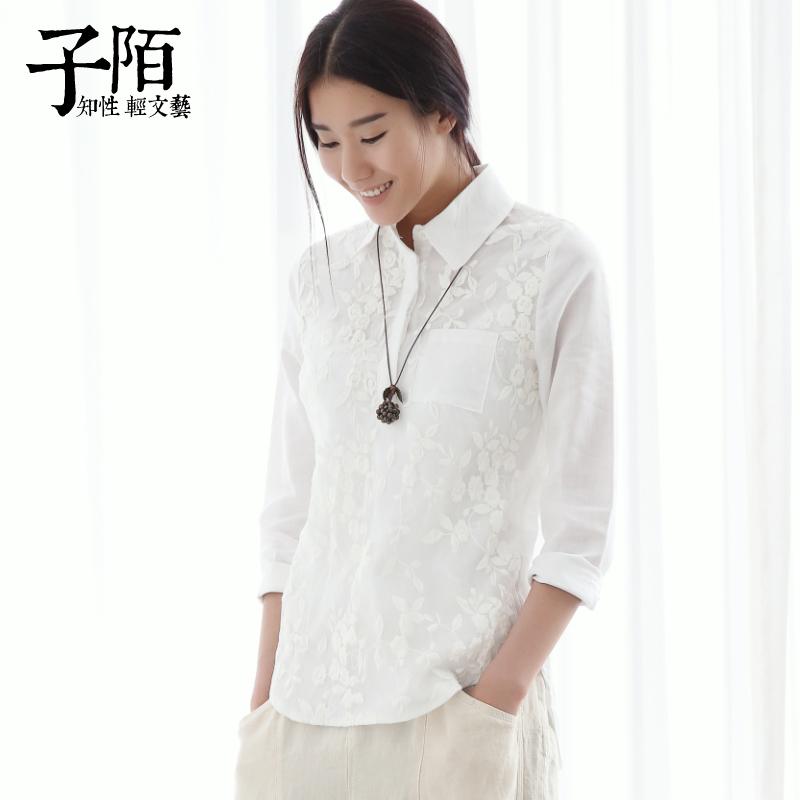 子陌新款原创文艺棉麻女装打底衬衣 刺绣白色长袖衬衫女