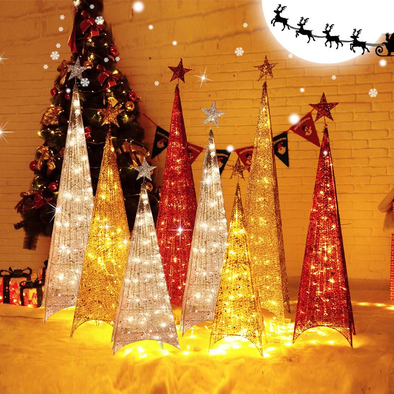 铁艺发光圣诞树网红酒店商场场景布置橱窗摆件家用圣诞节装饰品
