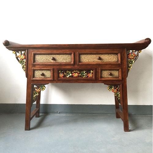 特惠包邮东南亚风情南瓜款家居装饰实木玄关桌住宅家具供桌