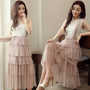 Two-piece mesh shirt + cake skirt gauze sling five new spring and summer 2017 women's skirts