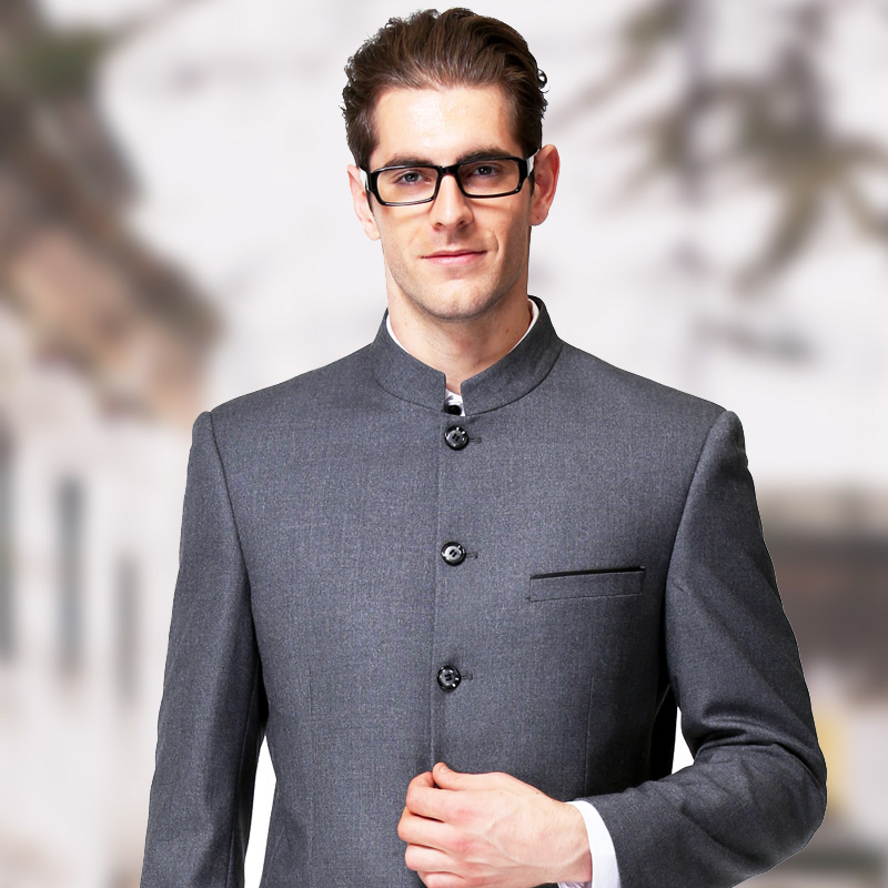 2018 slim fit autumn Zhongshan mens autumn and winter green middle-aged and elderly gray stand collar suit suit dads suit