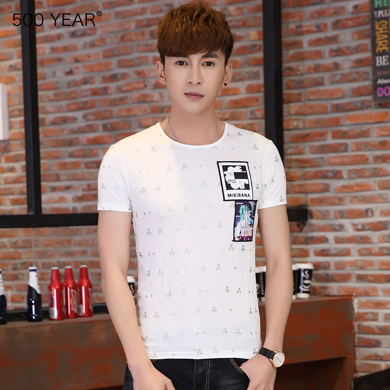 500 year mens new round neck printed cotton hemp short sleeve T-shirt Korean version slim half sleeve bottoming shirt