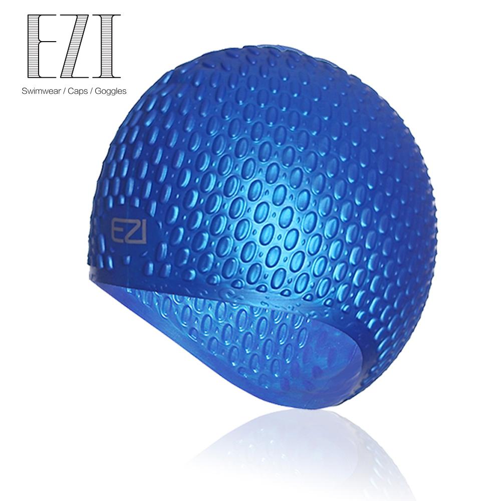 弈姿EZI潛水 遊泳裝備 水滴凹凸 矽膠遊泳帽 19003