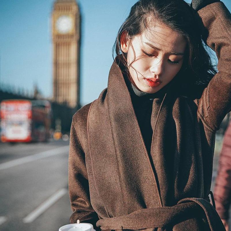 日系毛呢大衣女 森系冬季外套赫本风中长款过膝腰带呢子衣配围巾