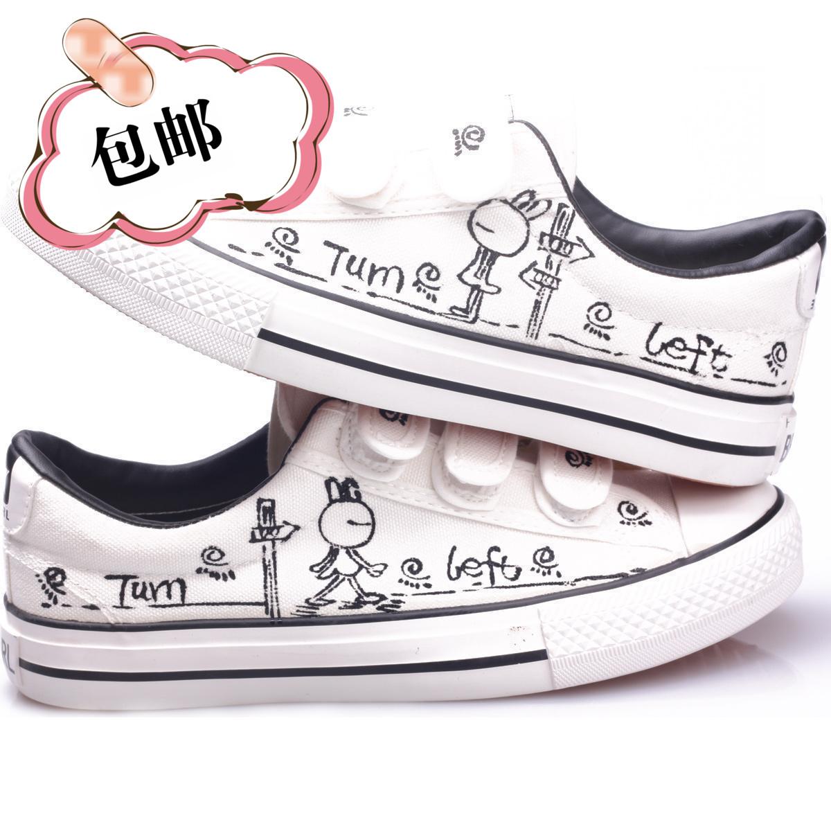Ручная роспись детей Холст обувь мальчиков Повседневная обувь Xia Xianan детские обувь Детская обувь мальчиков корейской версии обуви сумка mail