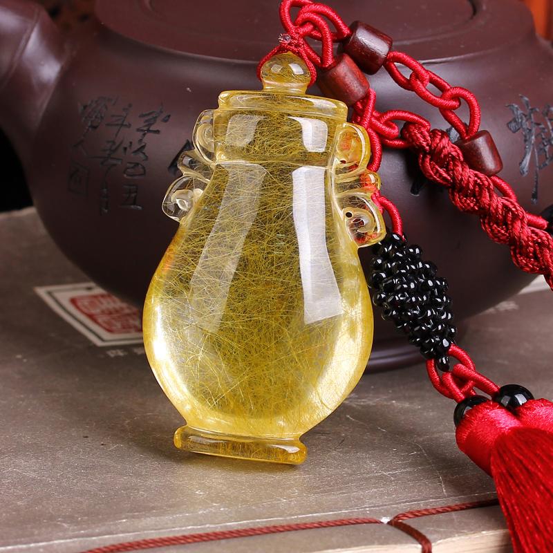 藏品汽车挂件饰品天然金发晶 车内挂饰金发晶许愿瓶 满发 附证书