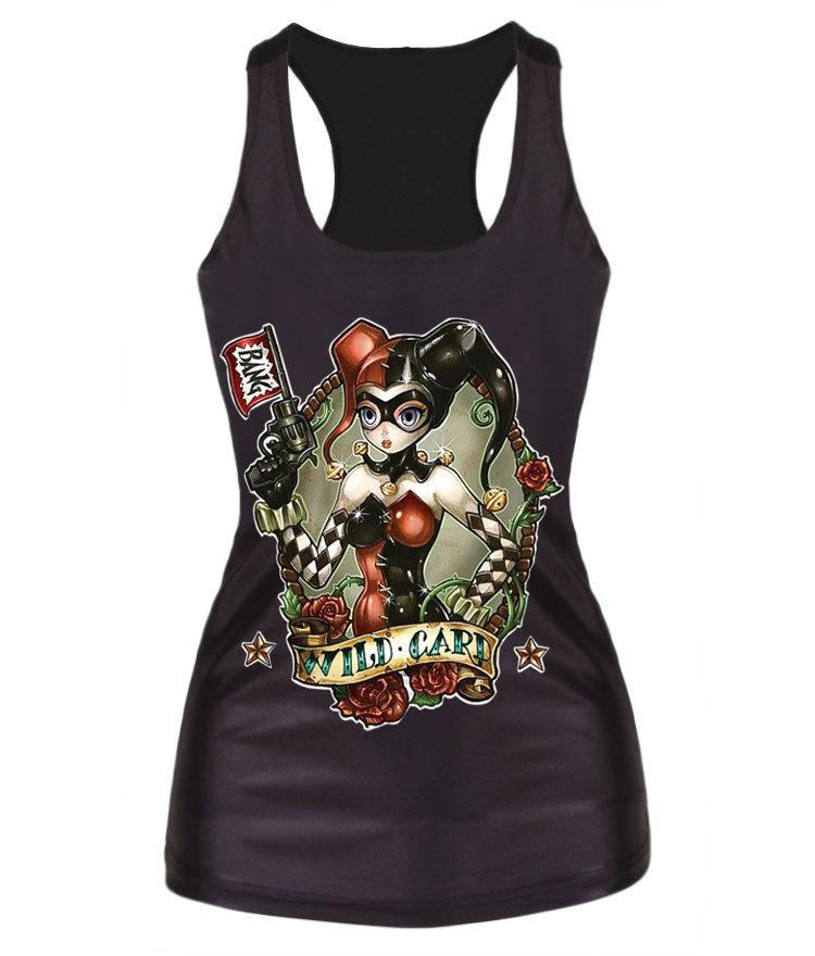 весной 2015 Amoi дамы, играя покер рубашку в конце ведьм носить персонализированных цифровой печати жилет тонкие небольшие ремни