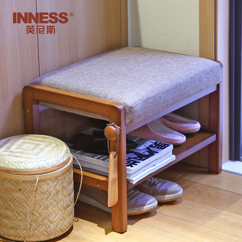 英尼斯 全實木換鞋凳鞋櫃鞋架收納儲物穿鞋凳 門口布藝沙發凳