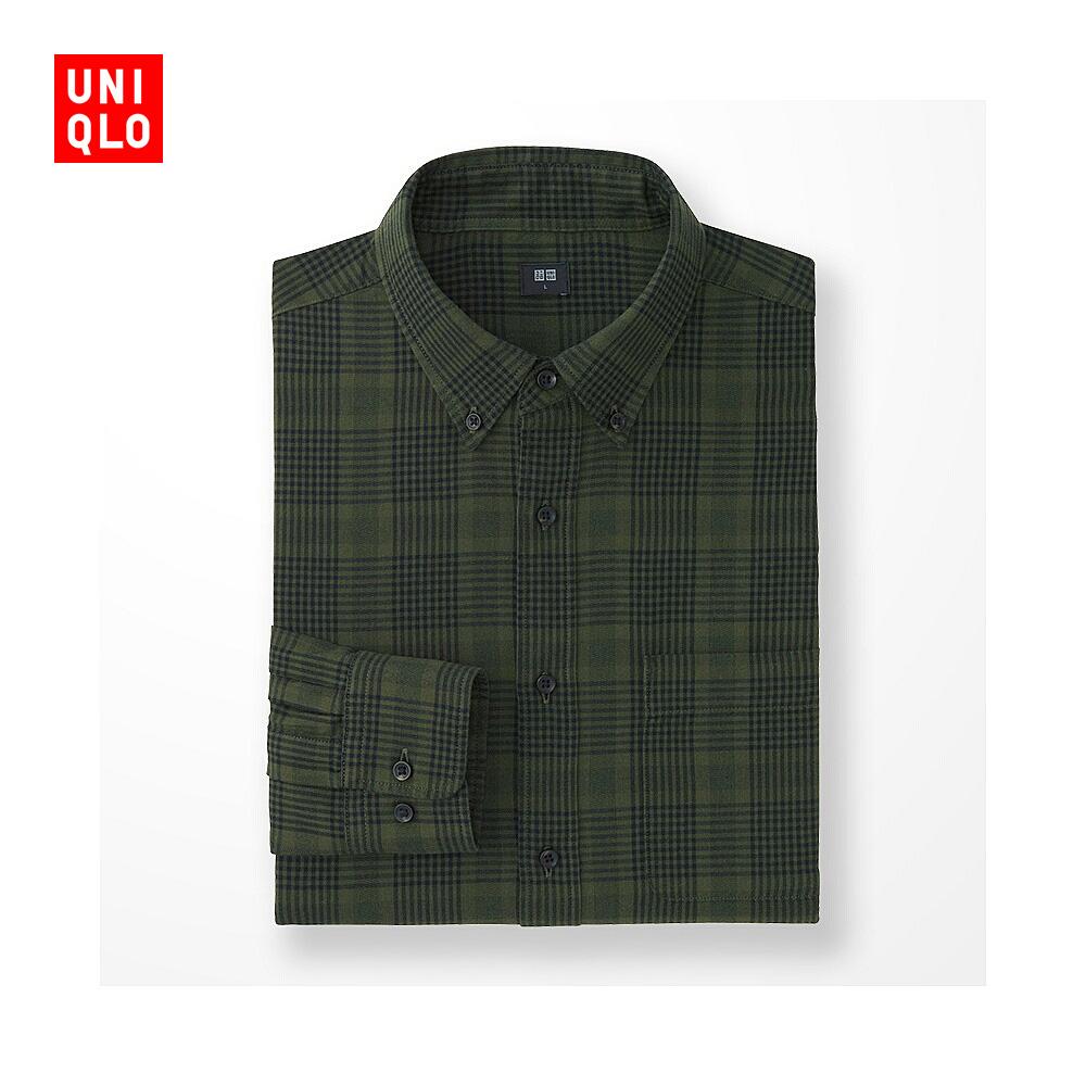 男裝 法蘭絨格子襯衫^(長袖^) 180814 優衣庫UNIQLO