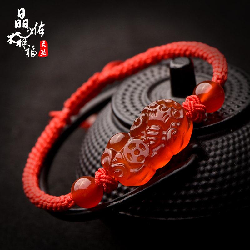 晶佑祥福開光本命年紅繩手鏈女紅瑪瑙翡翠貔貅 編織情侶手飾