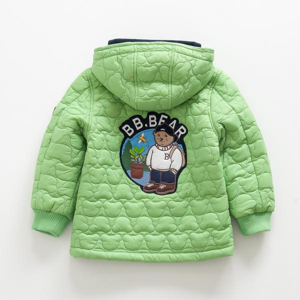 韩国小熊童装男童中长款薄款棉衣儿童夹棉棉服秋冬款宝宝外套上衣