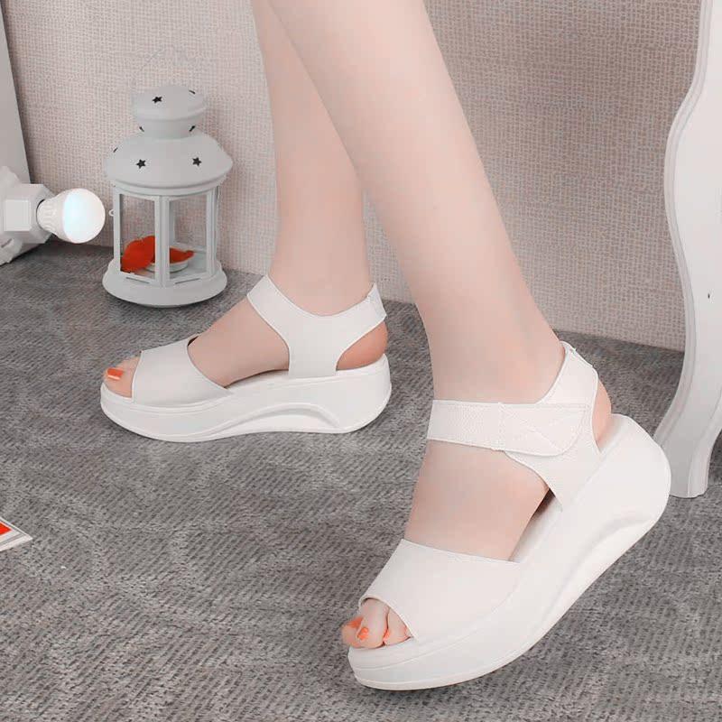 Высокий с плоской сандалии женщины летом 2016 мода досуг римские сандалии с толстой подошве платформы рыба рот сотрясало его ботинки женщин