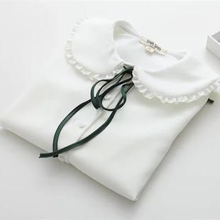 天天特价日系森女软妹少女木耳边系带蝴蝶结娃娃领 打底长袖衬衫