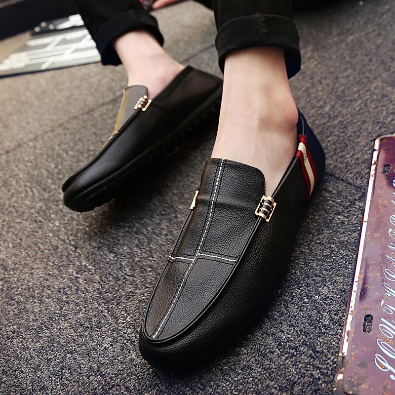 夏季2018新款韩版潮流男鞋子休闲豆豆鞋男百搭一脚蹬懒人皮鞋潮鞋