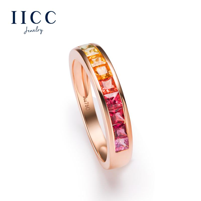 IiCC подлинный природный сапфир кольцо женщина сделанный на заказ из розового золота цвет драгоценный камень еда палец кольцо женщина друг вещь