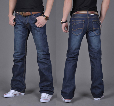 Mens flared pants medium high waist slim fit Korean small trumpet micro horn jeans spring summer autumn winter 6 good 9