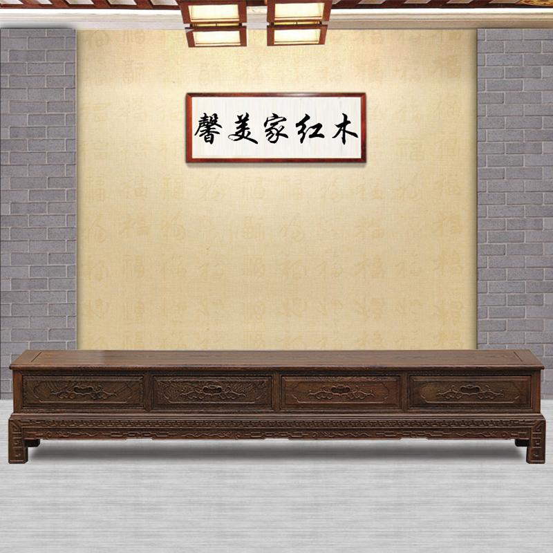 红木家具非洲鸡翅木电视柜2~2.6米储藏柜中式仿古客厅实木影视柜