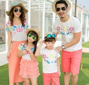 父子装夏装亲自装原创母子装特色照春游四口时尚父女亲子装母女群