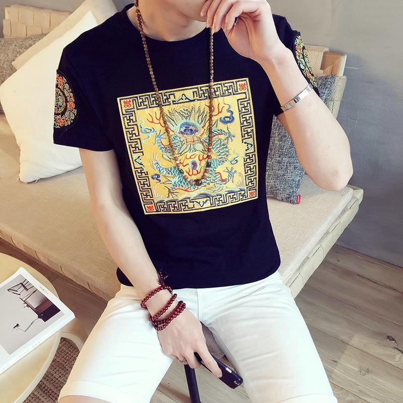 中國風刺繡男士胖子t恤