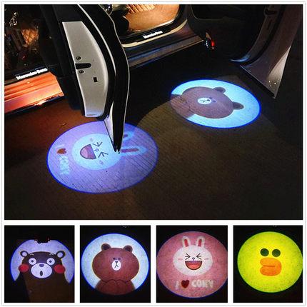 汽车车门迎宾灯 可妮兔布朗熊莎莉鸡熊本熊卡通迎宾灯 车门投影灯