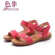 Faiccia/non 2015 summer styles counter genuine leather peep-toe wedges female Velcro Sandals 5827
