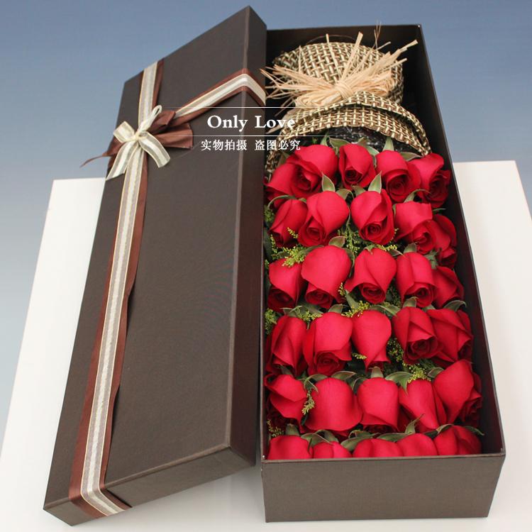 33朵礼盒生日上海速递红玫瑰花束