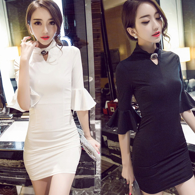 European han edition of new fund of 2015 autumn outfit socialite small sweet wind sexy hip ruffled cuff nightclub woman dress