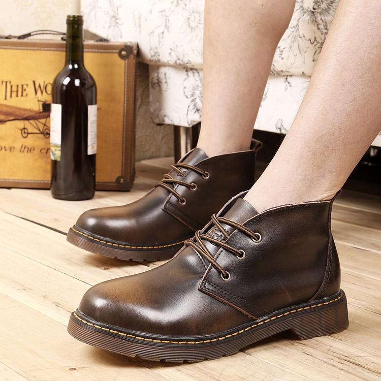 Тенденция кожа плюс размер Сапоги мужские Справка в высокий износ сапоги большой Корейский мужские туфли Англии Мартин сапоги обувь