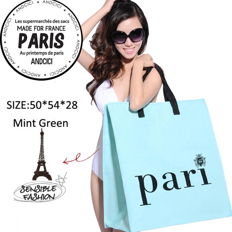 巴黎特大容量拉链搬家编织防水折叠环保购物袋手提行李打包旅行袋
