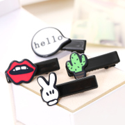 Know NI Japanese and Korean edition Harajuku interesting graffiti red lips hair clips cartoon rabbits ear fringes Duckbill clips hair accessories