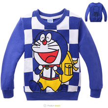 Kaka, children's wear the new autumn outfit 2015 boys long sleeve T-shirt doraemon cartoon printing children's recreational coat and cool