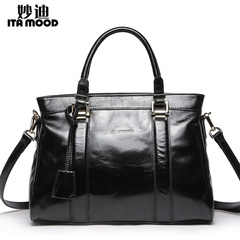 Miao di 2015 wax skin of new leather women bag handbag leather motorcycle packages a middle-aged single diagonal shoulder bag