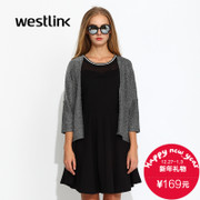 Westlink/West fall 2015-new Korean version of the dropped shoulders loose sleeves of ladies ' knitted Cardigan