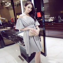 Card DiLei tide women's clothing on the streets of Europe and the United States in the summer of 2015 the new word get feifei sleeve sexy night dress