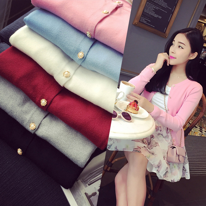 Spring and autumn 2016 womens new large size small coat round neck slim fit sweater short long sleeve thin sweater cardigan