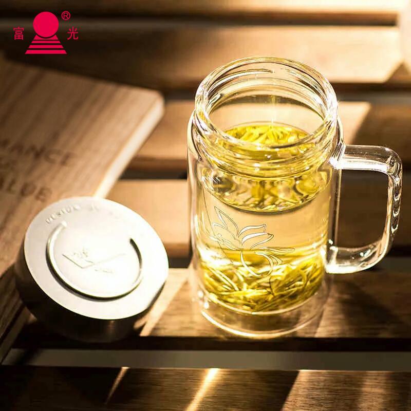 富光雙層玻璃杯大容量泡茶水杯辦公室茶杯玻璃杯家用隨手杯帶手柄