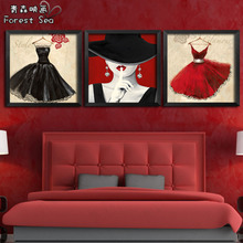 Contemporary and fashionable adornment beauty salon cosmetics shoe wall painting the living room have a box of bedroom the head of a bed hangs a picture