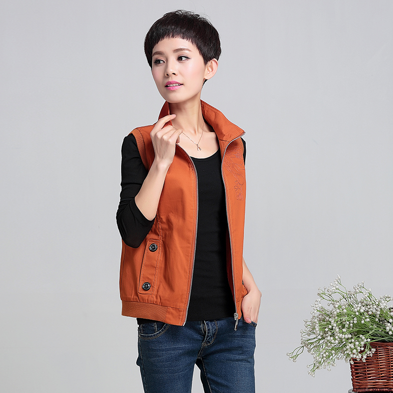 Shoulder womens spring and autumn middle-aged vest 2019 new pure cotton short sleeveless leisure large size new product