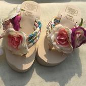 泰国女海边度假花朵夏季坡跟夹脚拖鞋沙滩拖鞋凉鞋波西米亚人字拖
