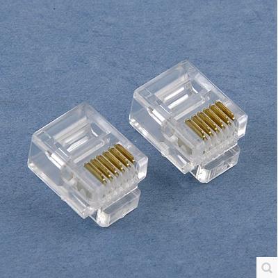 热卖6P6C电话水晶头六芯电话线接线子RJ11RJ12连接器镀金网络插头