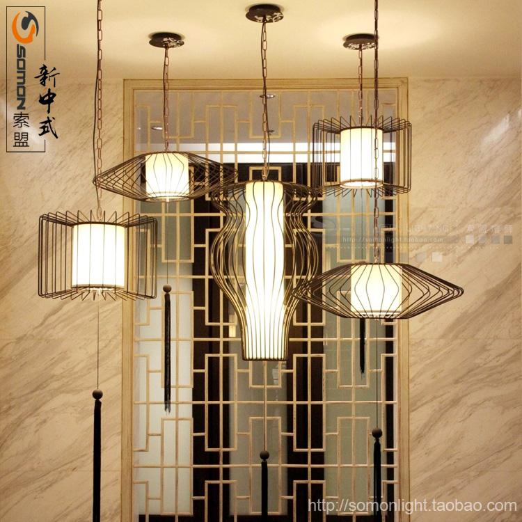 现代简约餐厅灯饰新中式鸟笼吊灯铁艺创意仿古酒店布艺装饰吊灯具