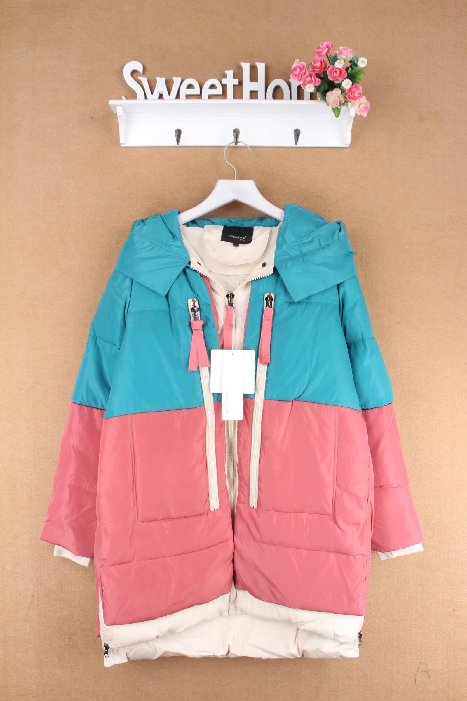 Иностранные дамы плюс размер нового военного снаряжения вниз куртка дамы контрастного цвета шить для увеличения тяжелых долго пуховая куртка