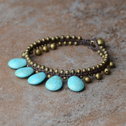 Original ethnic jewelry anklet Thailand style drops with turquoise vintage Bell anklets ladies 2600754