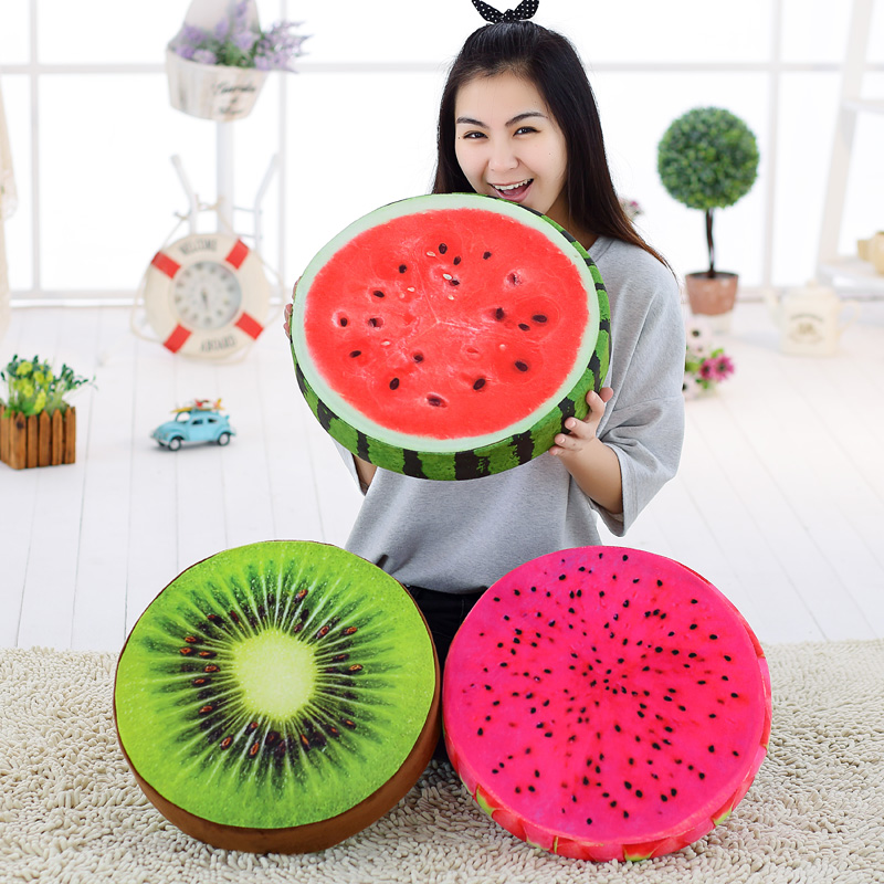 創意3D水果模擬毛絨榻榻米坐墊西瓜靠墊抱枕辦公室午睡個性禮物