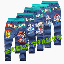 The spring and autumn period and the paragraph 2-7 small boy cartoon design imitation cowboy pants manufacturers selling wholesale children's wear panty