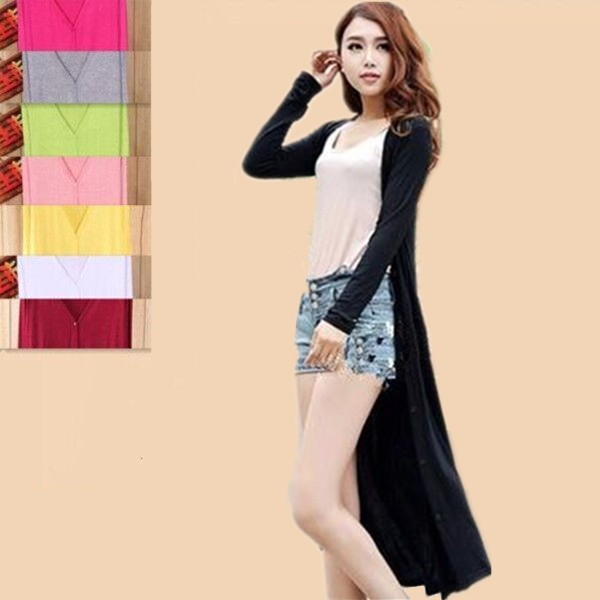 韩版夏季莫代尔中长款超薄款防晒衣女长袖开衫外套风衣空调衫披肩