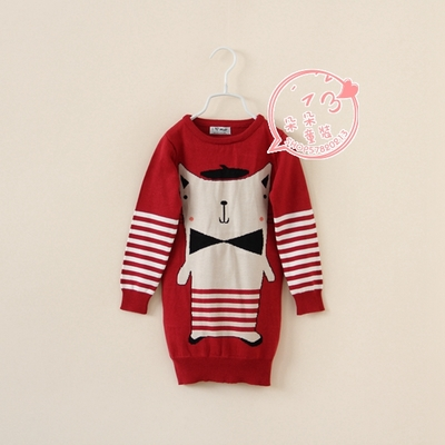 Foreign trade children's clothes, summer, fall, Europe and the United States girls cat long turtleneck sweater knit cotton round collar hair dress