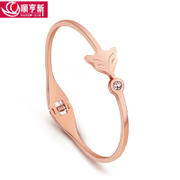 Fox 18K Rose Gold Titanium steel bracelet women ring Crystal fashion bracelet Korean jewelry accessory gift